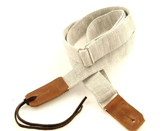 Natural Linen Ukulele Strap with Leather ends and optional tie lace
