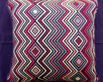 Ethnic Vintage Handmade Square Rainbow Zig Zag Pillow
