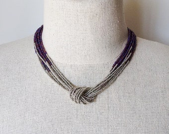 Silver and hyacinth necklace, seed bead necklace,gray and purple necklace,knot necklace,beaded necklace,beaded choker,multistrand ,violet