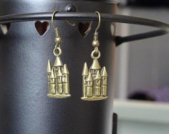 Bronze fairytale castle earrings