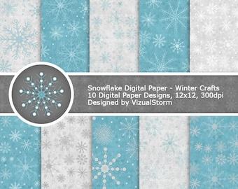 Snowflake Digital Paper Printable Snowflake Backgrounds Winter Scrapbooking Papers Snow Pattern Paper Winter Christmas Digital Paper Pack