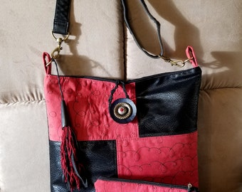 Cross body bag, patterned suede and faux leather. boho tassel, woven leather and button closer,  matching zipper pouch and earbud case