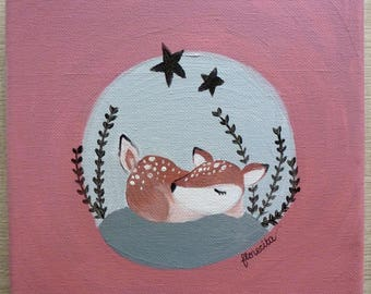 small canvas the fawn sleeping