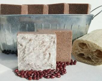 BIG Red - Japanese Adzuki Red Bean & Loofah Soap, All Natural Soap, Scrub Soap, Moisturizing Soap, Exfoliating Soap, Cold Process Soap