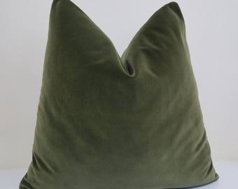 Moss Green  Velvet  Pillow Pillow Cover - Cotton Velvet - 12 x 18..................... - 24 x 24 - 26 x 26