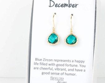 Tiny December Blue Zircon Birthstone Gold Earrings, Blue Zircon Gold Earrings, December Birthstone Gold Earrings, Bridesmaid Jewelry #807