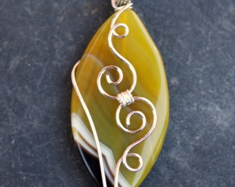 Honey Amber Yellow Banded Agate Wire Wrapped Gemstone Pendant - 27mm x 52mm