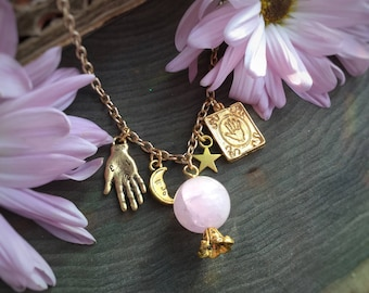 Amethyst Palmistry Crystal Ball necklace with moon and stars