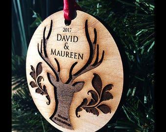Custom christmas ornament, ceramic round ornament, christmas ornament, personalized ornament, our first christmas ornament // SKU#124B