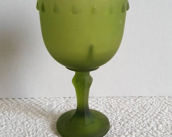 Frosted Green Goblet Pedestal Compote from Indiana Glass