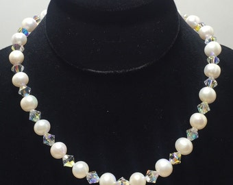 Crystal Palace Necklace/ Pearl necklace