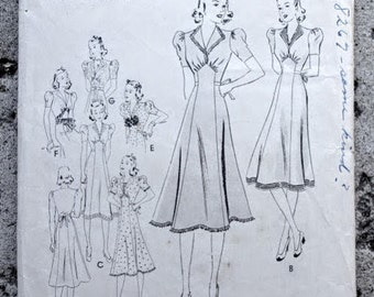 Late 1930s Style Revere Collar Puffed Sleeve Dress with Full Skirt Custom Made in Your Size From Vintage Pattern