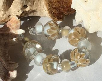 Handmade Lampwork Glass Beads SRA Sage Bloom Encasement Florals (11)