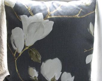 "Grey Magnolia Cushion Cover  40cm (16"") (3)"