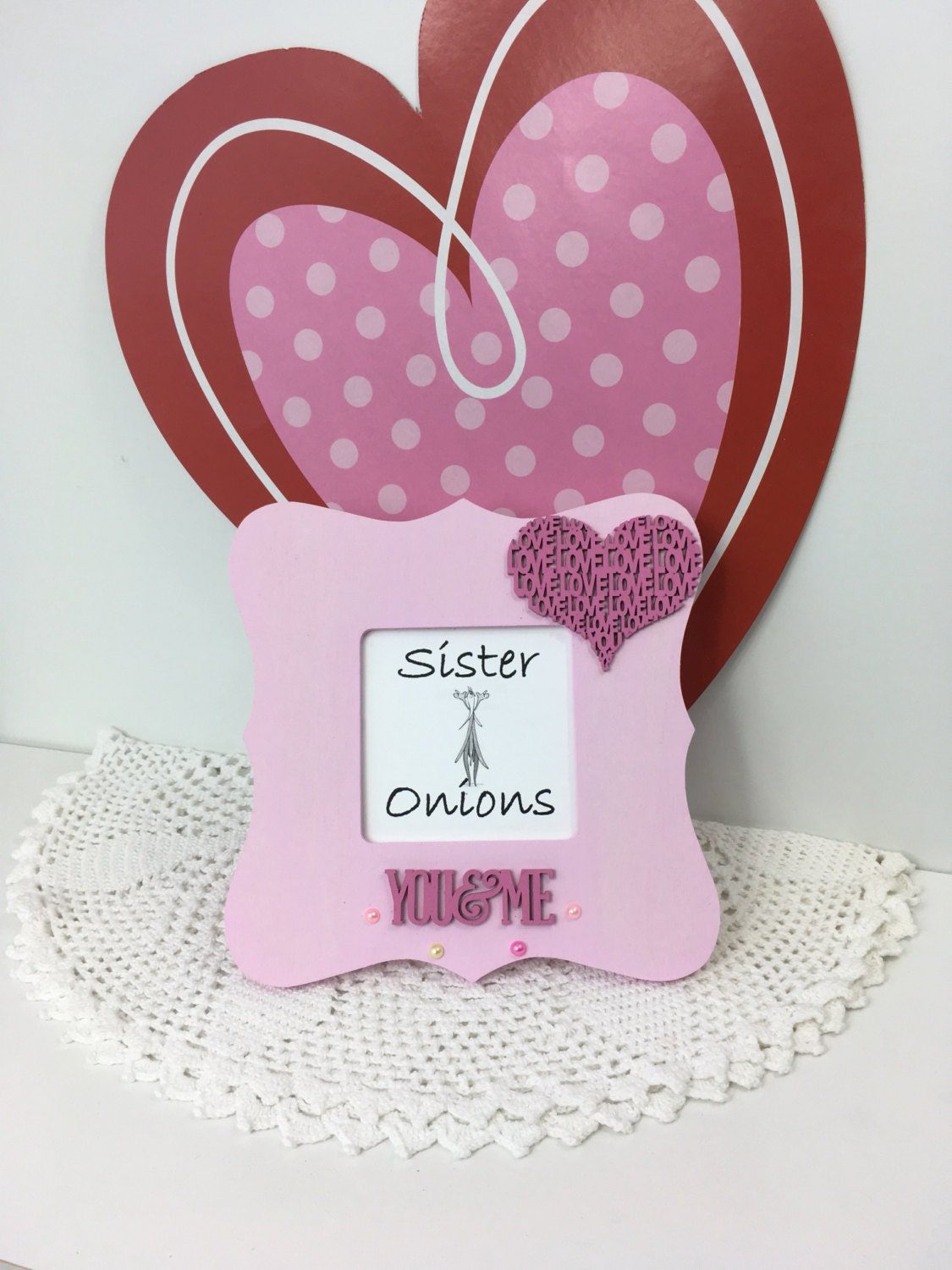 Embellished Pink Curvy Picture Frame You & Me 4-Ever 8 x 8