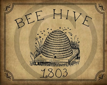 Primitive Bee Hive Skep Honey Pantry Logo Jpeg Digital File for Crock  Jar, Labels, Pillows and more!