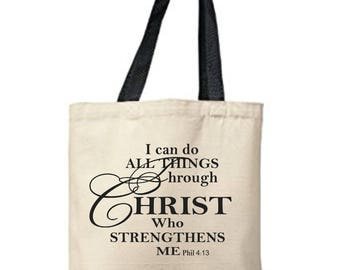 Cotton Tote - I Can Do All Things Through Christ Print