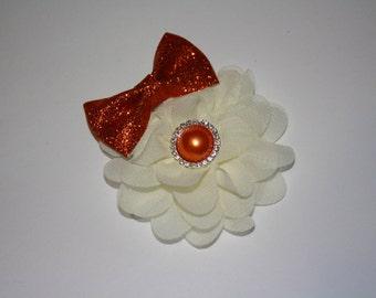 Orange Glitter Bow Boutique Flower Pearl & Rhinestone Headband (13.5 inches Normally Fits NB-6M)