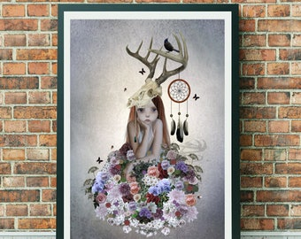 Country Flower Girl | Pop Surrealism | Art Print | Floral Girl | Flower Bouquet | Flower Lover Art | The Collector