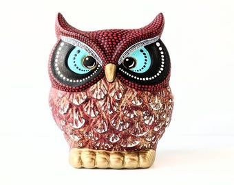 OWL red and goldHand painted Owl coin Bank Piggy Bank Owly Red owl bank Can be Personalized