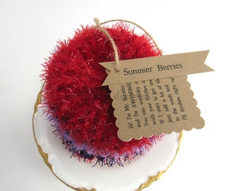 Kitchen Scrubby TRIO~Summer Berries~Reuseable Scrubbie~Pot Scrubby~Green Living~handmade scrubby~Kitchen Cloth~Scrubby Pad