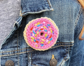 Pink Frosted Donut Pin Broach Ornament
