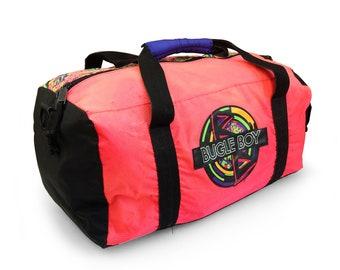 Stunning 80s Neon Bugle Boy Mayan Pixel Print Heavy Wt. Nylon Duffel Bag