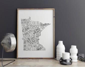 State of Minnesota Typography Print; Wall Decor; Christmas Gift; Wall Art; Wedding Anniversary Engagement Graduation Gift Decor