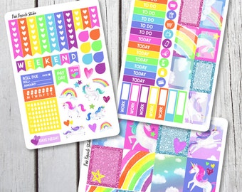 Unicorn Weekly Kit Planner Stickers Designed for Erin Condren Life Planner Vertical