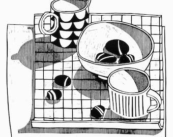 Black and white pebbles and jug lino print