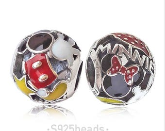 Micky and Minnie 925 sliver bracelet charm/fit Authentic pandora bracelet / fit European bracelet