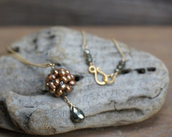 Bronze Pearl Woven Ball Necklace - Freshwater Pearl Woven Ball, Pyrite Briolette, Gold Chain, Birthstone Jewelry, Style Number 895
