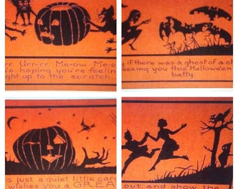 Black & orange Halloween vintage postcard repro decoration refrigerator  magnets lot