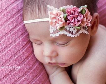 Baby Headband, Baby Coming Home Headband, Newborn Headband, Blush Headband, Newborn Photo Prop, Rustic, Baby Girl Headband, Dainty Headband