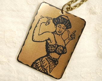 Mata Hari Necklace - Etched Fused Glass on Bronze Jewelry