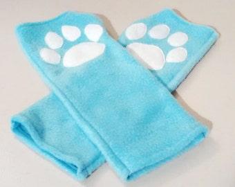 Fleece Paw Wrist Gloves