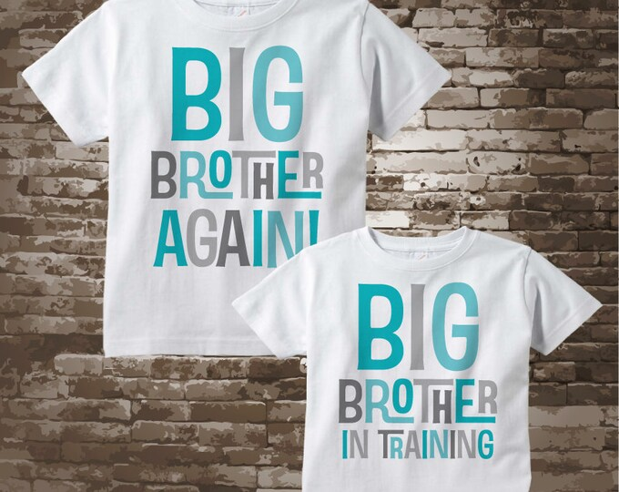 Boys Sibling Big Brother Again and Big Brother In Training Set of Two, Tee Shirts or Onesies, Pregnancy Announcement 04062018c