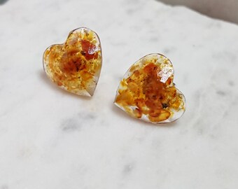 Baltic Amber Heart. Resin Stud Earrings