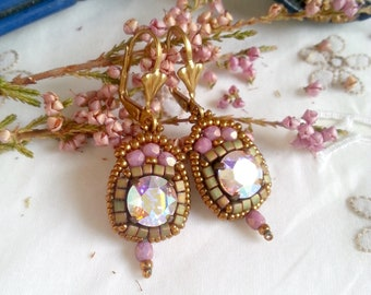 Paloma n.25/cristal/ inspired Bohemian/romantic/marie antoinette/history/regency/wedding earrings