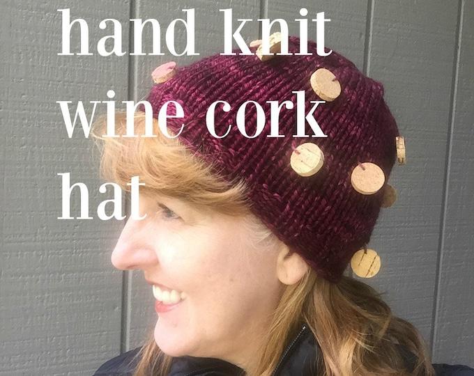Hand Knit Wine Cork Hat with Wine Cork Slice Beads in Burgandy or Wine Red hand dyed bulky yarn 100% superwash merino wool