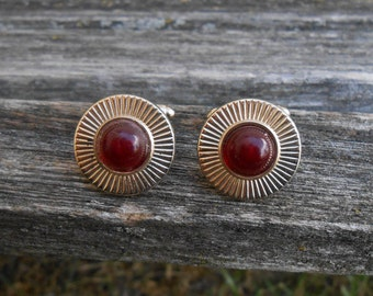 Vintage Red & Gold Cufflinks. Gift For Dad, Groom, Groomsmen, Wedding, Anniversary, Birthday, Christmas, Father's Day.