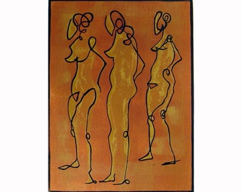Three Nudes original linocut print