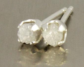 White Rough Diamond Studs - 5mm Post Earrings, Four Prongs - Raw Uncut Unfinished Diamonds on Silver Posts - Natural Conflict Free