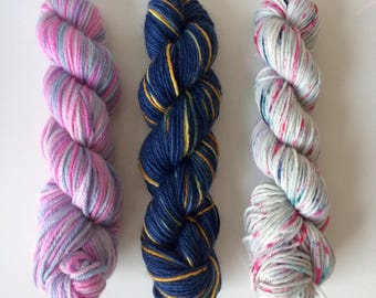 Hand dyed  merino sock yarn mini set (3 mini skeins)