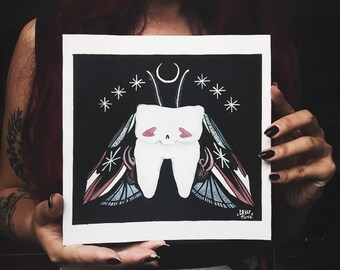 Baby Tooth Biggie MOTH ORIGINAL / gouache illustration painting