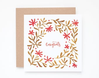 Congrats greeting card, floral congratulations, watercolor congratulations, Congrats card, pattern note card, Congratulations card