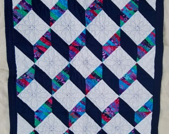 Geometric Optical Illusion Cubes Handmade Baby Quilt in Navy and White With Multicolored Batik Stripes