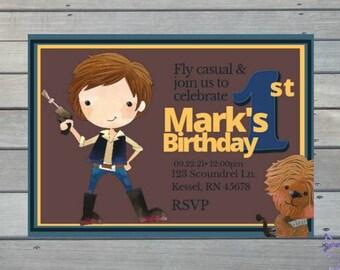 Star Wars Han Solo Cute Downloadable Personalized Print Yourself Birthday Invitation