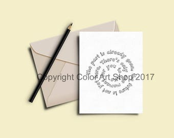 Greeting Cards to Color In - Printable Coloring Card Download -  7 x 5 Card - Original Designs #30