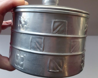 Aluminium Biscuit Box - Modelled on a Pewter Arts & Crafts Design  which was originally made for Liberty by Archibald Knox